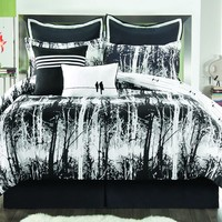 Sunset and Vines Woodland Reversible Comforter Set (Black)