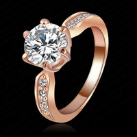 Kate Princess Wedding Rings 18K Rose Gold/Platinum Plated Clear Zircon Womens Fashion Jewellery Ring Ri-HQ1053