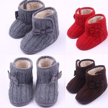 Infant Baby Girls Snow Boots Winter Toddler Fur Lined Booties Knitted Crib Shoes