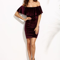 Burgundy Bodycon Off Shoulder Velvet Dress