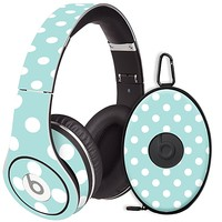 White Polka Dot on Mint Skin  for the Beats Studio Headphones & Case by skinzy.com