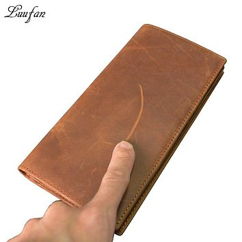 Men's genuine Leather long Wallet with Phone pocket card holder Real leather Snap Bifold chain wallet crazy horse leather clutch