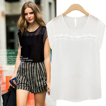 Sleeveless Line Chiffon Blouse