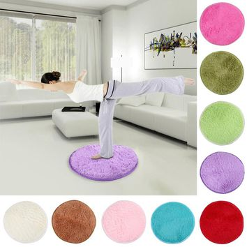 42cm Fluffy Round Foam Rug Non Slip Shower Bedroom Mat Door Floor Carpet