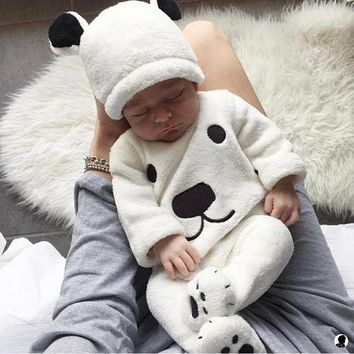 3Pcs Newborn Baby Girls Boy Long Sleeve Pullovers Top Footies Pants Hat Outfits Set Fluffy Cute Cartoon Winter Warm Clothes