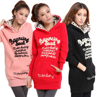 Fashion Autumn Women Sweatshirt Letter Print Hoodies Clothes Plus Size Female Long Tops