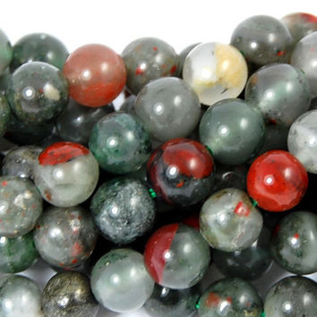 6mm African Bloodstone Jasper Round Beads in Deep Red and Forrest Green -15.5 inch strand
