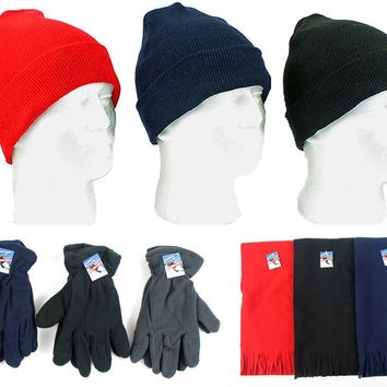 Winter Knit Hats, Men's Fleece Gloves & Scarves - CASE OF 180