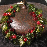 Christmas Holly and Berry Bracelet