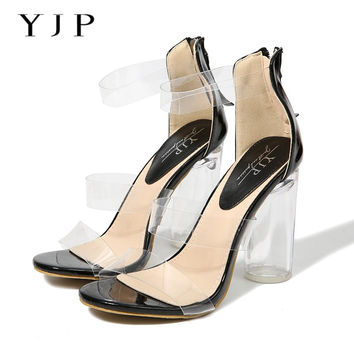 YJP Women 10.5cm Clear Heels Sandals, Black/Beige Three PVC Clear Strap Suprer High Heels, Summer Perspex Heels Jelly Shoes