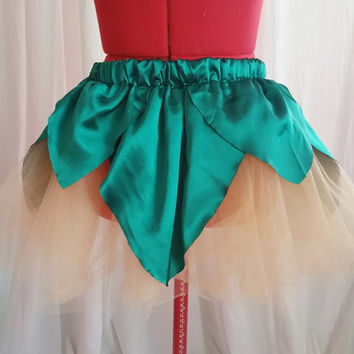 Peach and Green Flower Tutu Pixie Fairy Skirt READY TO SHIP