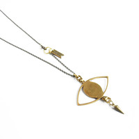 Third Eye Pendant Necklace - Brass