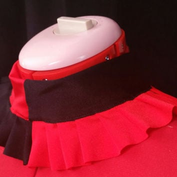 READY TO SHIP Harley Quinn Inspired Red And Black Stretch Ruffle Collar