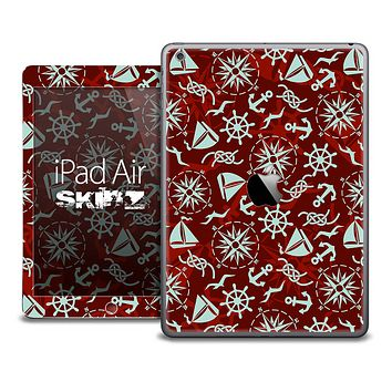 The Red Nautical Collage Skin for the iPad Air