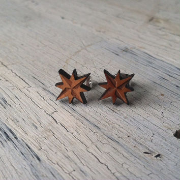 Nautical Star Stud Earrings - Wooden Stud Earrings - Star Studs, Post Earrings