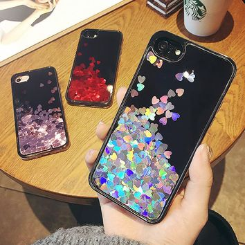 Luxury Love Heart Dynamic Liquid Glitter Liquid Quicksand Soft Silicon Phone Cover Case For iPhone 8 6 6S 7 Plus 5 5S SE Fundas
