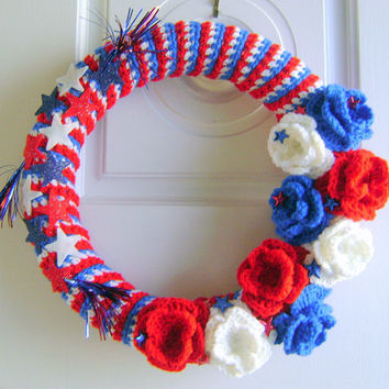 Handmade Fourth of July Crochet Wreath by Rhody on Etsy