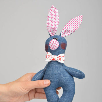 handmade soft toy rag bunny doll for children baby present natural materials toy