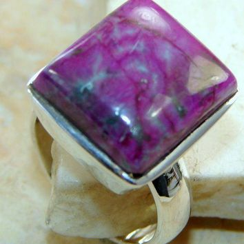 Solid 925 Silver Purple Turquoise Ring