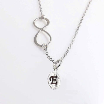 Personalized initial Infinity necklace -ONE initial charm -STERLING SILVER necklace- birthday, wedding, Mothers Day, friendship