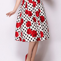 White Polka Dot Skirt With Red Rose Print