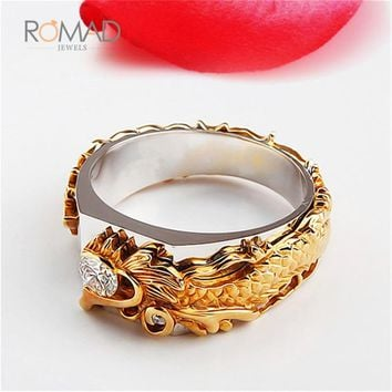 2018 Retro Dragon Head Ring For Men Personality Fashion Gold color Clear Cubic Zirconia Finger Rings Jewellry anel masculino Z4