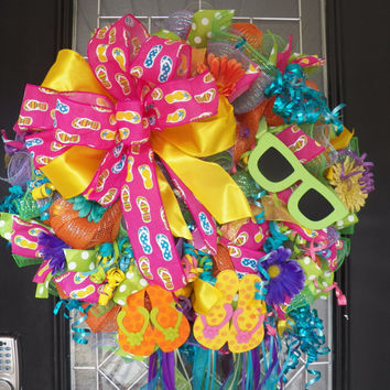 XL Deco Mesh Summer Wreath, Spring Wreath, Door Hanger, Front Door Wreath