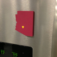 "Arizona State Sun Devils ""State Heart"" magnet, handcrafted wood with official team colors"