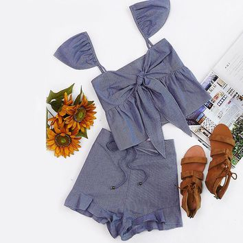 Strap Tie Back Checkered Top and Shorts Set