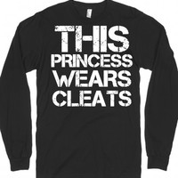 This Princess Wears Cleats, Soccer, Softball, Black Tee |