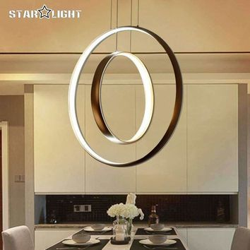 Modern pendant LED lights Dimming Circle Rings Golden aluminum body LED Lighting ceiling Lamp fixtures for living room dining