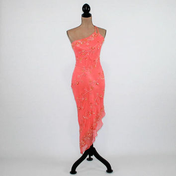 Sexy One Shoulder Dress Silk Beaded Formal Evening Dress XS Orange Peach Fitted Dress Asymmetrical Cache Vintage Clothing Womens Clothing