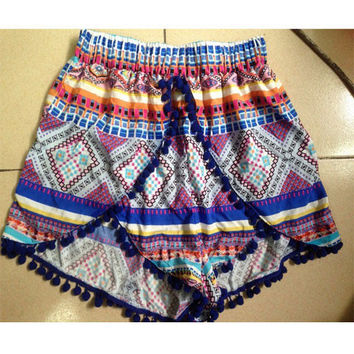 Bohemian Ethnic Style Printed Stitching Irregular Shorts with Tassel