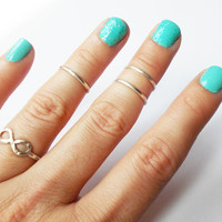 Set of Three Sterling Silver Knuckle Rings - Stackable - Any size