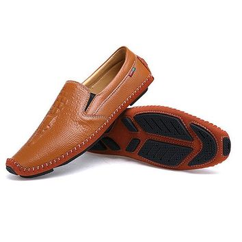 Men Delicate Sewing Crocodile Pattern Genuine Leather Casual Loafers