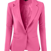 LE3NO Womens Slim Fit Single Button Tailored Boyfriend Blazer Suit Jacket