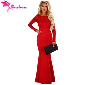 Dear Lover Long 2018 Mermaid Dresses Sexy Backless Gowns Party Lace Long Sleeve Bow Back Maxi Dress High Quality Vestido LC61857