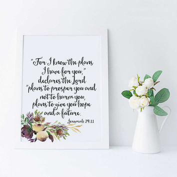 Bible Verse Art Jeremiah 29:11 Scripture Print Child's Room Decor Typographic Print For I Know The Plans Wall Quote