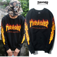 """thrasher""letters print flame black man and women long sleeve swater"