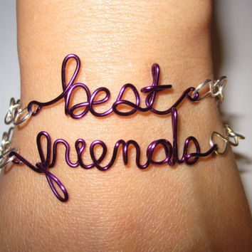 Purple Best Friends Bracelets Silver Plated and by aLilJazzJewelry