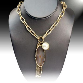 Gold Plated Agate Stone Link Necklace w/Faux Pearl