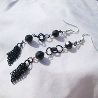 "Black Jeweled Earrings, Handmade Chain ""Roxanne"""