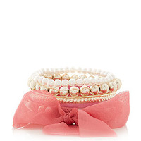 Pink Ribbon Bow Pearl Ball Bangles