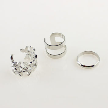 Silver Leaf Finger Ring Set