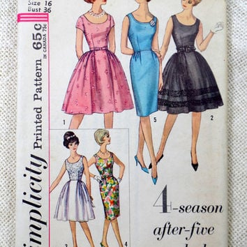 Vintage Pattern Simplicity 4491 1960s Rockabilly prom dress new look full skirt Bust 36 Formal Bateau Wiggle Uncut Party