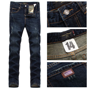Men Slim Men's Fashion Ripped Holes Stretch Jeans [6528466115]