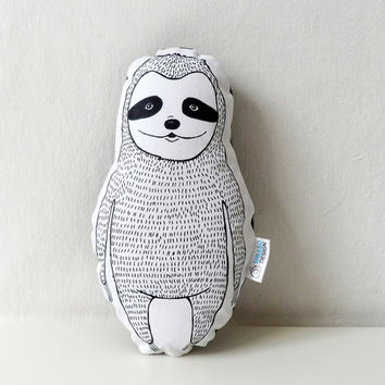 Plush Sloth Pillow in black, nursery decor,  animal totem