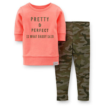 "Carter's Girls 2 Piece ""Pretty and Perfect Is What Daddy Said"" French Terry Coral 3/4 Sleeve Top and Camo Pant Set"