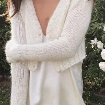 Basic Moment Long Sleeve V Neck Button Crop Cardigan Sweater - 2 Colors Available