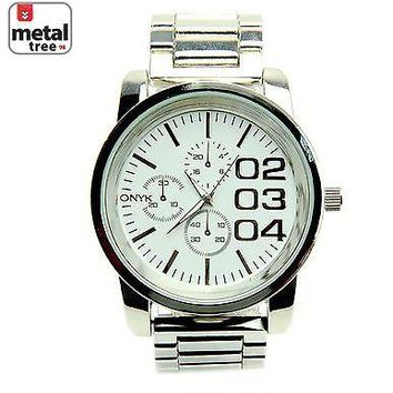 Jewelry Kay style Men's Silver Plated Analog Stainless Steel Metal Heavy Band Watches 0885 S